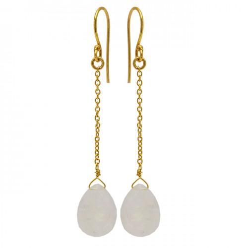 Pear Drops Shape Moonstone 925 Sterling Silver Gold Plated Chain Dangle Earrings
