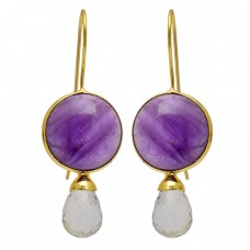Amethyst Rainbow Moonstone 925 Sterling Silver Gold Plated Fixed Ear Wire Earrings