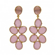 Rose Chalcedony Gemstone 925 Sterling Silver Gold Plated Bezel Setting Earrings