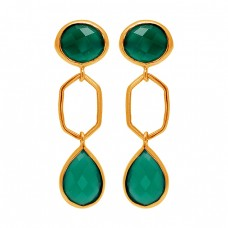 Green Onyx Gemstone 925 Sterling Silver Gold Plated Stud Dangle Handmade Earrings