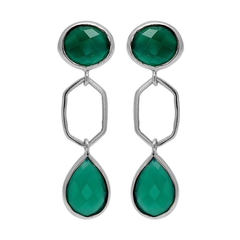 Green Onyx Gemstone 925 Sterling Silver Gold Plated Stud Dangle Handmade Earrings