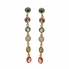 Bezel Setting Multi Color Gemstone 925 Sterling Silver Gold Plated Dangle Earrings