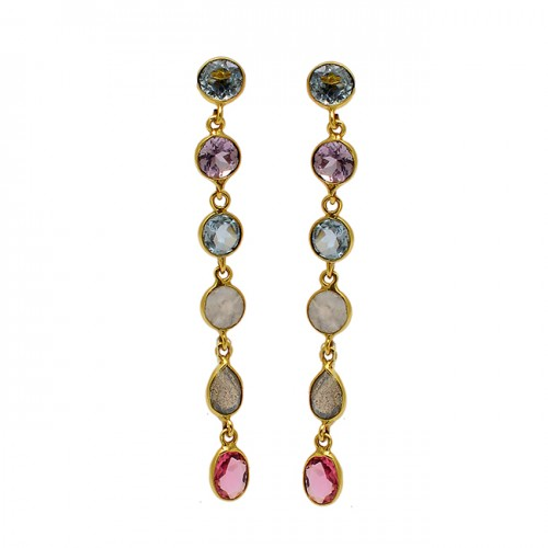 Bezel Setting Multi Color Gemstone 925 Sterling Silver Gold Plated Dangle Earrings