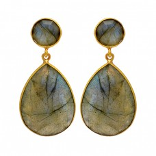 925 Sterling Silver Labradorite Gemstone Gold Plated Stud Dangle Handmade Earrings