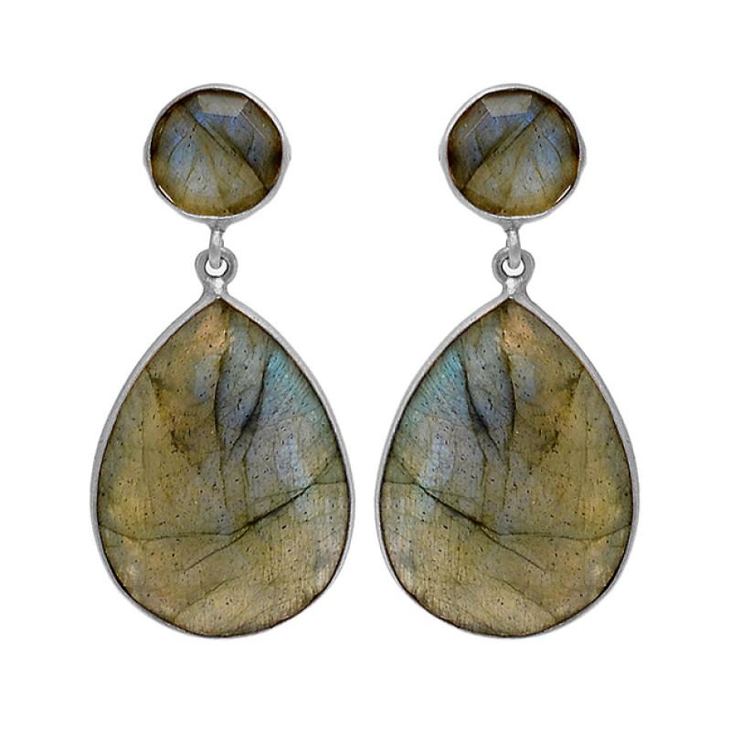 925 Sterling Silver Labradorite Gemstone Gold Plated Stud Dangle Handmade Earrings