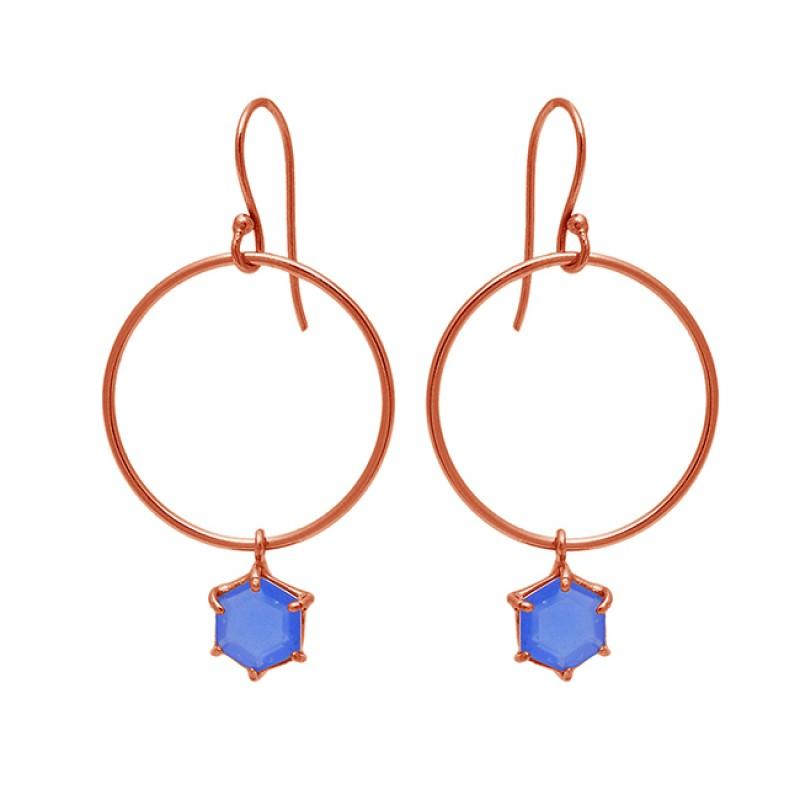Hexagon Shape Blue Chalcedony Gemstone 925 Sterling Silver Dangle Earrings