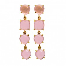 Prong Setting Pink Quartz Chalcedony Gemstone 925 Silver Gold Plated Stud Earrings