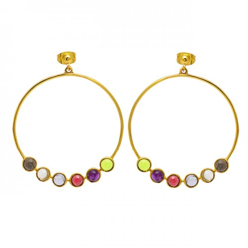 Round Cabochon Multi Color Gemstone 925 Sterling Silver Gold Plated Earrings