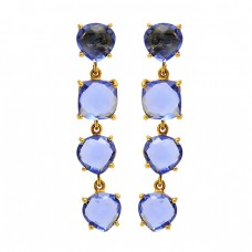 Prong Setting Blue Quartz Gemstone 925 Sterling Silver Gold Plated Stud Dangle Earrings