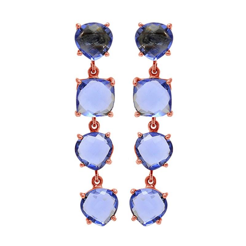 Prong Setting Blue Quartz Gemstone 925 Sterling Silver Gold Plated Stud Dangle Earrings