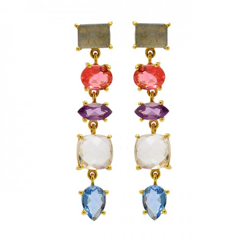 925 Sterling Silver Multi Color Gemstone Gold Plated Prong Setting Stud Earrings