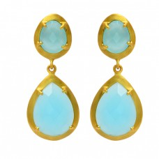 Pear Shape Aqua Chalcedony Gemstone 925 Sterling Silver Gold Plated Stud Earrings