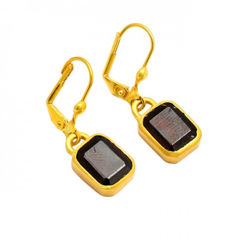 Smoky Quartz Rectangle Shape Gemstone 925 Silver Gold Plated Clip-On Earrings