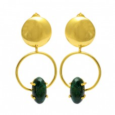 Oval Cabochon Malachite Gemstone 925 Sterling Silver Gold Plated Stud Earrings