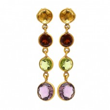Bezel Setting Round Shape Gemstone 925 Sterling Silver Gold Plated Dangle Earrings