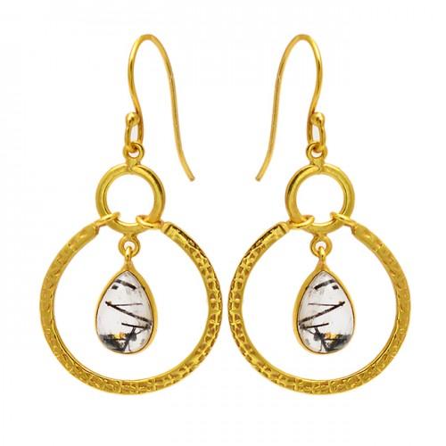 Pear Shape Black Rutile Quartz Gemstone 925 Sterling Silver Gold Plated Earrings