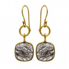 Cushion Shape Black Rutile Quartz Gemstone 925 Sterling Silver Gold Plated Earrings