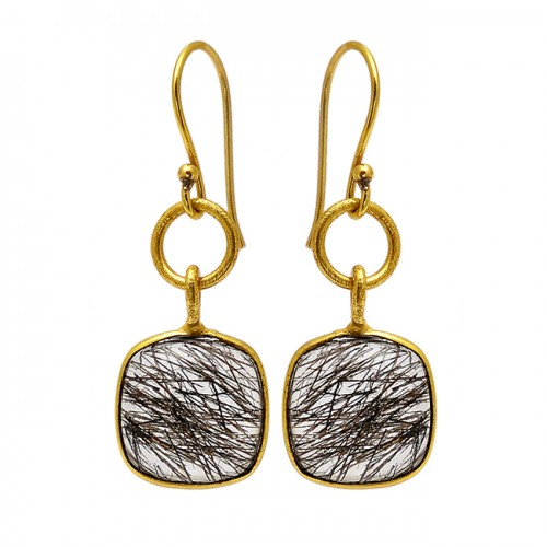 Cushion Shape Black Rutile Quartz Gemstone 925 Sterling Silver Gold Plated Earrings