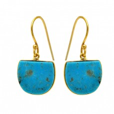 Fancy Shape Turquoise Gemstone 925 Sterling Silver Gold Plated Dangle Earrings
