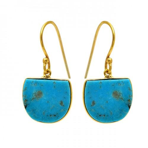 Fancy Shape Turquoise Gemstone 925 Sterling Silver Gold Plated Dangle Earrings