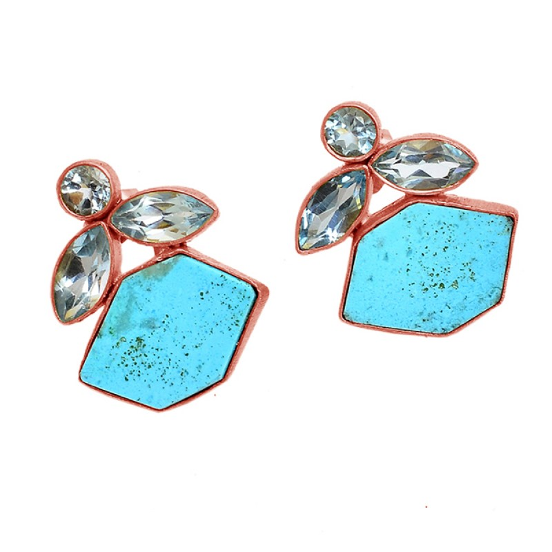 925 Sterling Silver Blue Topaz Turquoise Gemstone Gold Plated Stud Earrings