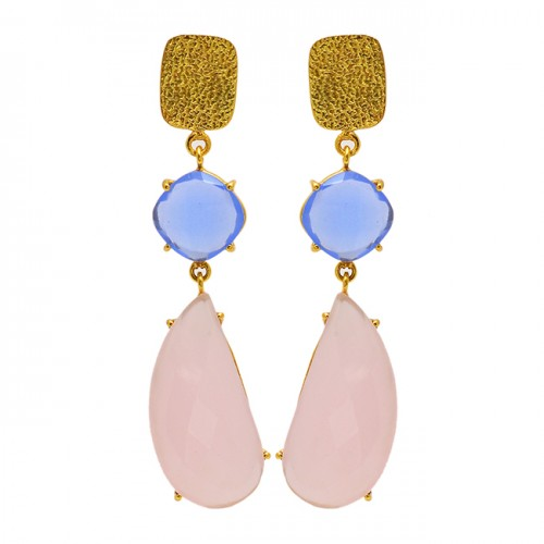 Blue Quartz Chalcedony Gemstone 925 Sterling Silver Gold Plated Stud Dangle Earrings