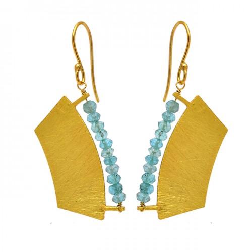 Roundel Beads Shape Blue Topaz Gemstone 925 Silver Gold Plated Dangle Earrings