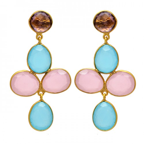925 Sterling Silver Smoky Quartz Chalcedony Gemstone Gold Plated Stud Earrings