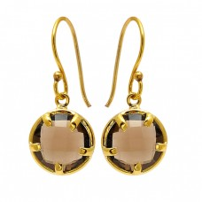 Round Shape Smoky Quartz Gemstone 925 Sterling Silver Gold Plated Earrings