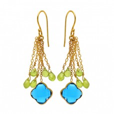 Peridot Blue Quartz Gemstone 925 Sterling Silver Gold Plated Chain Dangle Earrings