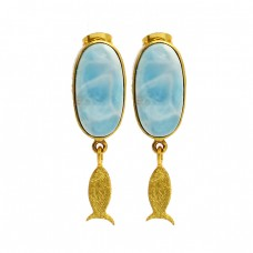 Oval Shape Larimar Gemstone 925 Sterling Silver Gold Plated Handmade Earrings