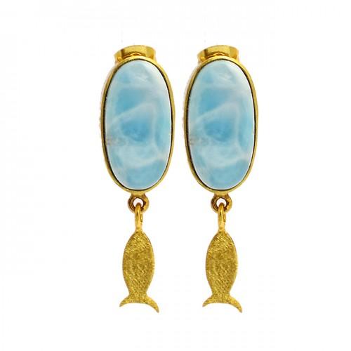 Oval Shape Larimar Gemstone 925 Sterling Silver Gold Plated Handmade Earrings