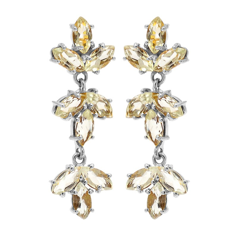 Marquise Shape Crystal Quartz Gemstone 925 Sterling Silver Gold Plated Earrings