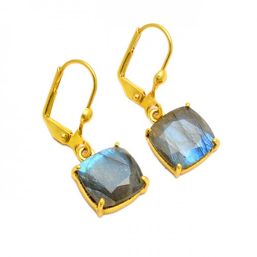 Cushion Shape Labradorite Gemstone 925 Sterling Silver Gold Plated Clip-On Earrings