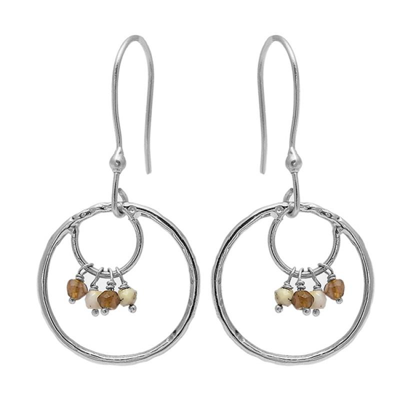 Roundel Beads Shape Gemstone 925 Sterling Silver Gold Plated Dangle Earrings