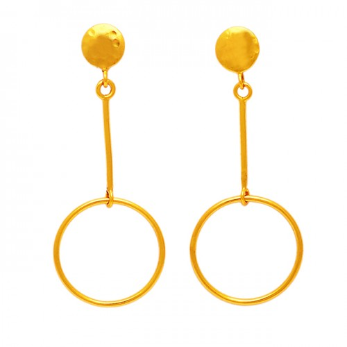 Handcrafted Designer Plain 925 Sterling Silver Gold Plated Stud Dangle Earrings