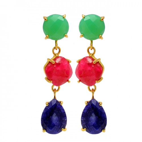 Ruby Sapphire Chalcedony Gemstone 925 Sterling Silver Gold Plated Stud Earrings