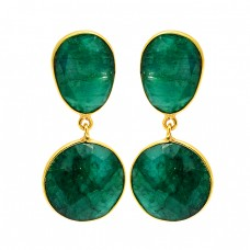 925 Sterling Silver Emerald Gemstone Gold Plated Bezel Setting Stud Dangle Earrings