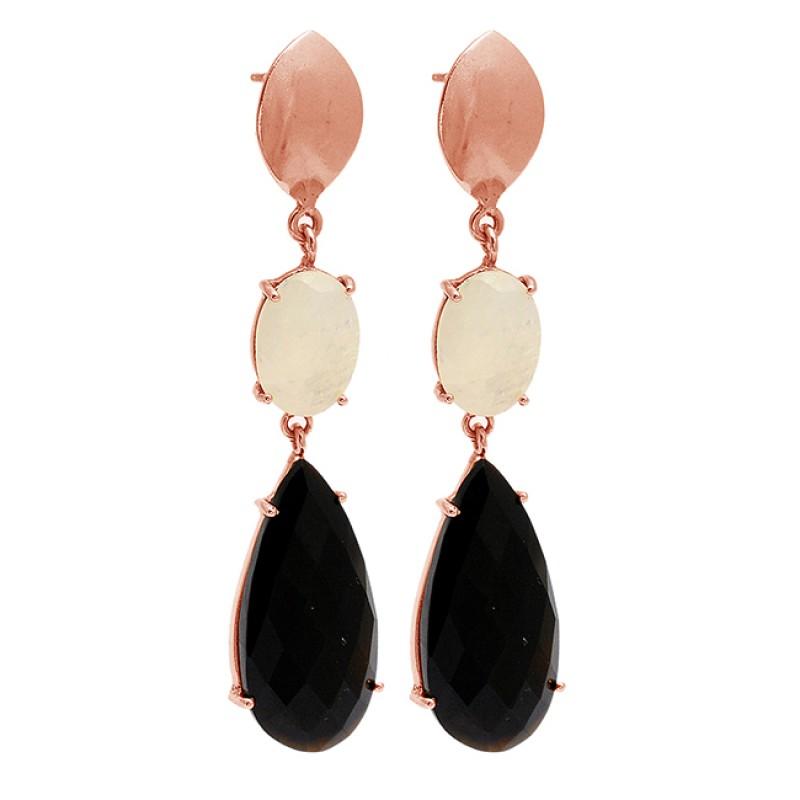 925 Sterling Silver Moonstone Onyx Gemstone Gold Plated Stud Dangle Earrings
