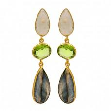 925 Sterling Silver Peridot Moonstone Labradorite Gemstone Gold Plated Earrings