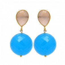 Rose Quartz Turquoise Gemstone 925 Sterling Silver Gold Plated Stud Dangle Earrings