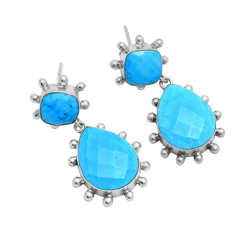 Cushion Pear Turquoise Gemstone 925 Sterling Silver Gold Plated Stud Dangle Earrings