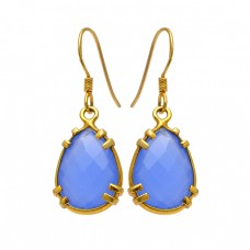 Blue Chalcedony Briolette Pear Shape Gemstone 925 Silver Gold Plated Earrings