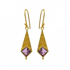 Amethyst Square Shape Gemstone Gold Plated Handcrafted Designer Earrings
