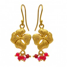 Faceted Roundel Beads Ruby Gemstone Gold Plated Flower Designer Earrings