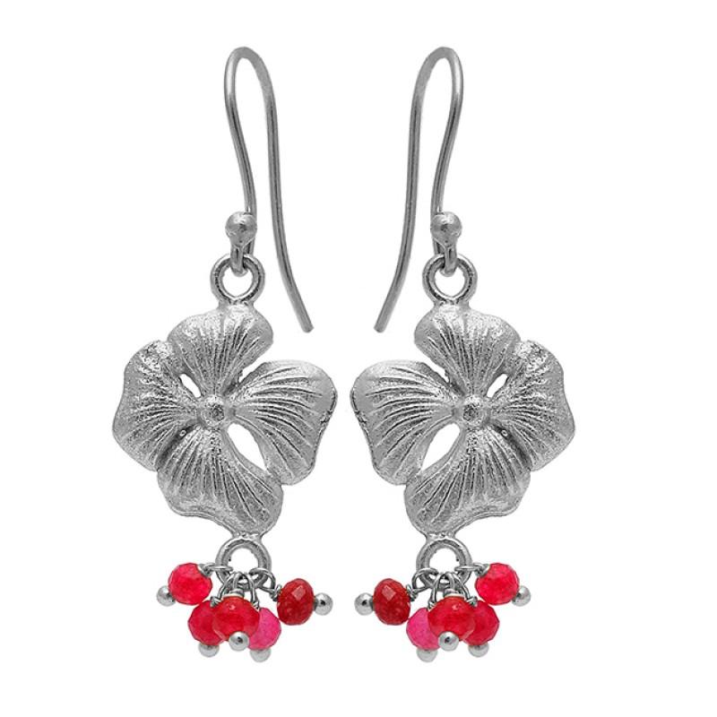 Faceted Roundel Beads Ruby Gemstone Gold Plated Flower Designer Earrings