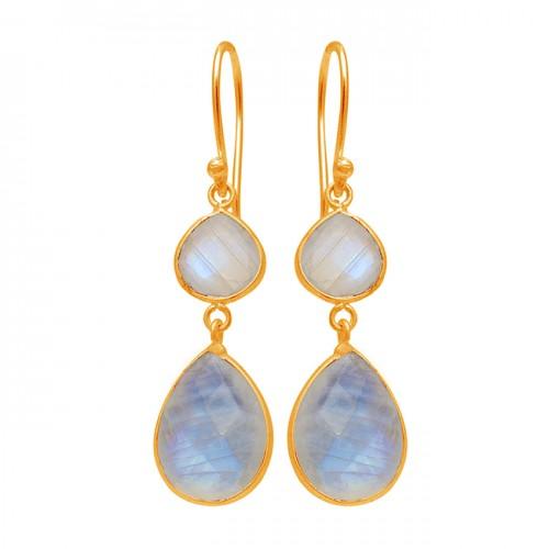 Handcrafted Designer Rainbow Moonstone 925 Sterling Silver Dangle Earrings
