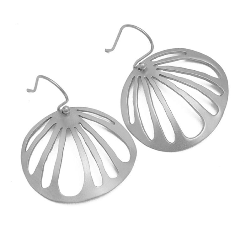 Stylish Plain Designer 925 Sterling Silver Gold Plated Dangle Earrings