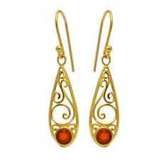 Carnelian Round Shape Gemstone Filigree Style Gold Plated Dangle Earrings