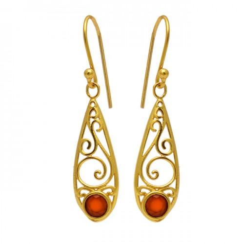 Carnelian Round Shape Gemstone Filigree Style Gold Plated Dangle Earrings
